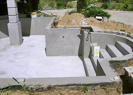 Бассейн с бетонной чашей